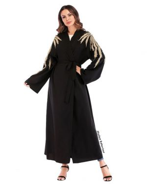 Velvet Gold Wings Abaya