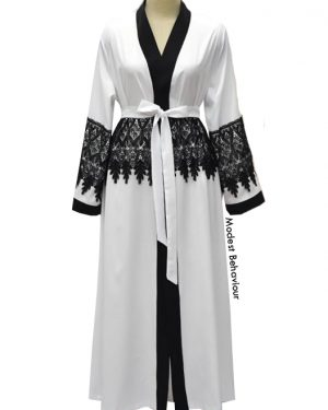 White Abaya With Black Lace