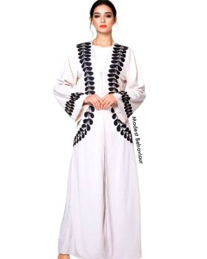 White Open Abaya With Black Trim