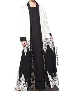 White and Black Embroidered Abaya