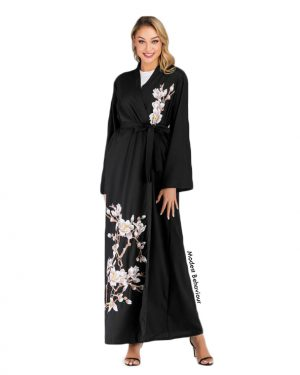 Elegant Embroidered Open Abaya