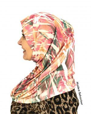 Designer Abstract Island Pattern One Piece Hijab