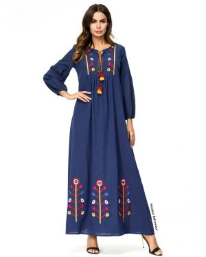 Blue Embroidered Abaya Dress