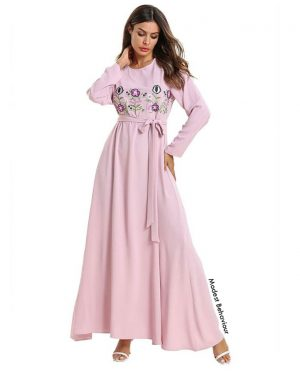 Blush Pink Maxi Dress With Flower Embroidery