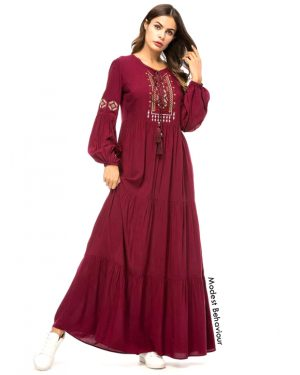Burgundy Embroidered Abaya Dress