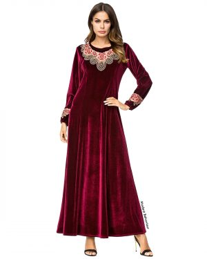 Burgundy Floral Embroidered Velvet Abaya Dress