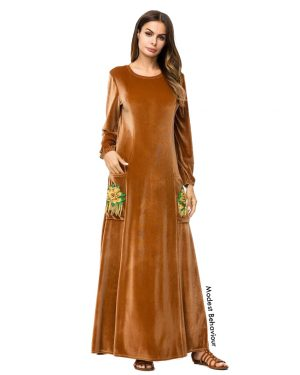 Caramel Velvet Large Embroidered Pocket Abaya