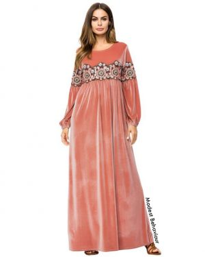 Coral Pink Velvet Embroidered Abaya Dress V2