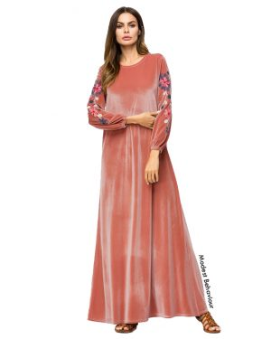 Coral Pink Velvet Embroidered Abaya Dress