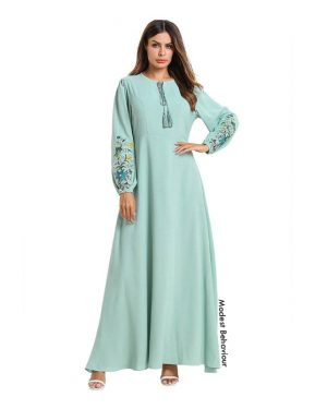 Cyan Embroidered Abaya Dress