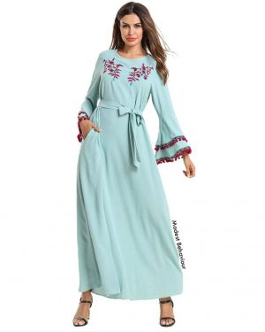 Cyan Maxi Dress With Pom Poms and Embroidery