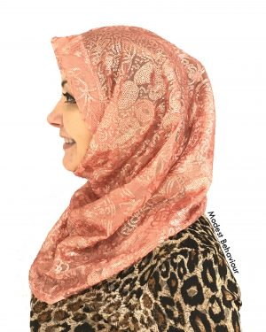 Designer Coral Sequins One Piece Hijab