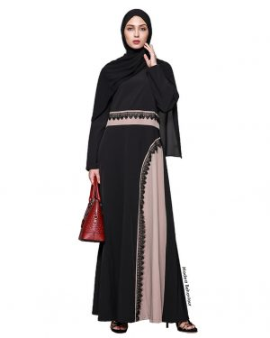 Duotone Black and Mauve Lace Abaya Dress