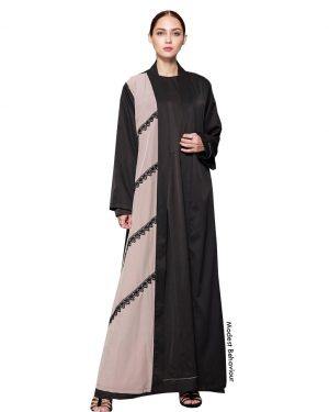 Duotone Black and Mauve Lace Open Abaya