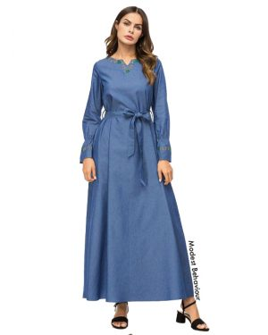 Elegant Jeans Abaya Dress