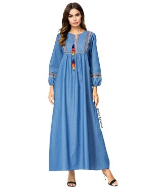 Elegant Jeans Abaya Dress With Tassels