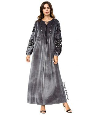 Gray Velvet Embroidered Abaya Dress