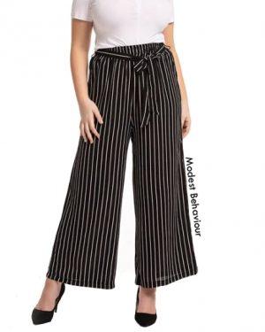 High Waist Wide Leg Striped Pants