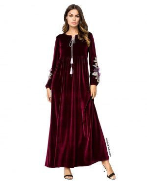 High Waisted Velvet Embroidered Abaya Dress