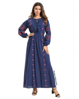 Lantern Sleeve Embroidered Maxi Dress