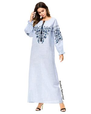 Light Denim Embroidered Abaya Dress