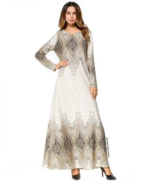 Middle Eastern Pattern Abaya Dress