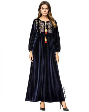 Midnight Velvet Embroidered Abaya Dress
