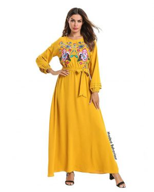 Mustard Yellow Maxi Dress With Flower Embroidery
