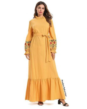 Mustard Yellow Ruffled Maxi Dress