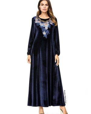 Navy Floral Embroidered Velvet Abaya Dress