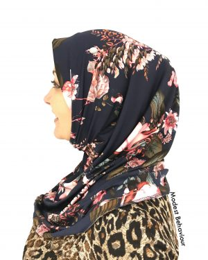 Designer Navy Floral Pattern One Piece Hijab