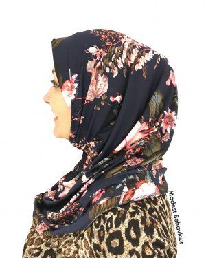 Designer Navy Floral Pattern One Piece Hijab