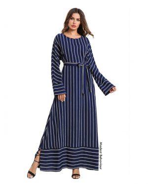 Navy Striped Maxi Dress