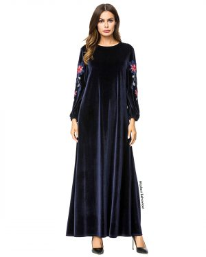 Navy Velvet Embroidered Abaya Dress