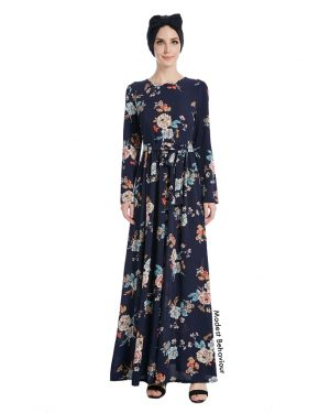 Navy Vintage Floral Pattern Maxi Dress