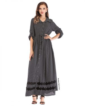 Patterned Button Down Maxi Dress