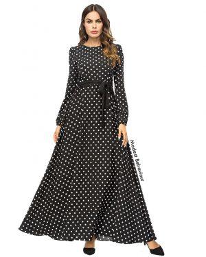 Polka Dot Patterned Maxi Dress