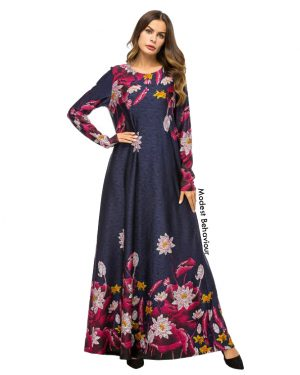 Retro Flower Patterned Maxi Dress