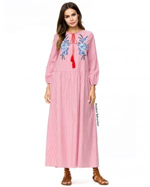 Retro Pin-Striped Abaya Dress With Embroidery