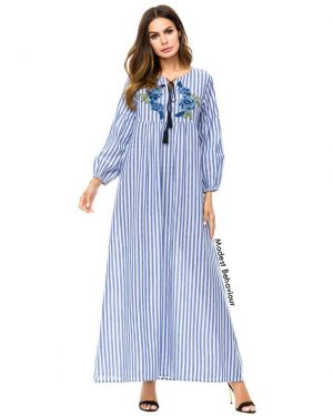 Retro Pin-Striped Abaya Dress With Embroidery in Blue