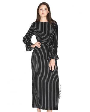 Retro Pin Striped Maxi Dress