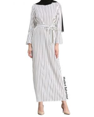 Retro Pin Striped Maxi Dress
