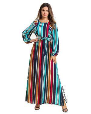 Retro Striped Colorful Dress