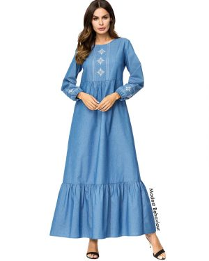 Ruffled Denim Embroidered Abaya Dress