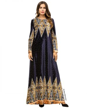 Starry Night Velvet Abaya Dress