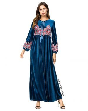 Teal Velvet Embroidered Abaya Dress