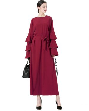 Triple Flared Sleeve Maxi Dress