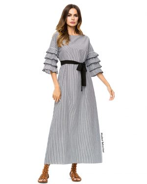 Triple Flared Sleeve Striped Dress