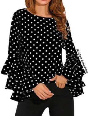 Triple Flared Sleeves Polka Dot Top