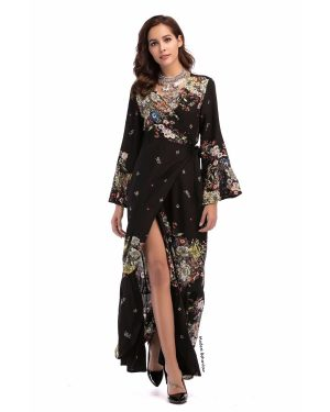 Patterned V Neck Slit Maxi Dress Top